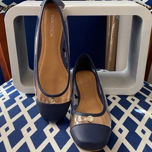 Navy blue and clear Nautica ballet flats